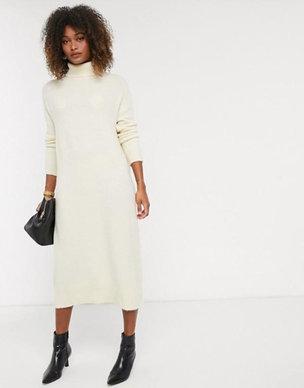 ワイエーエス レディース ワンピース トップス Y.A.S knitted midi dress with roll neck in cream Cream