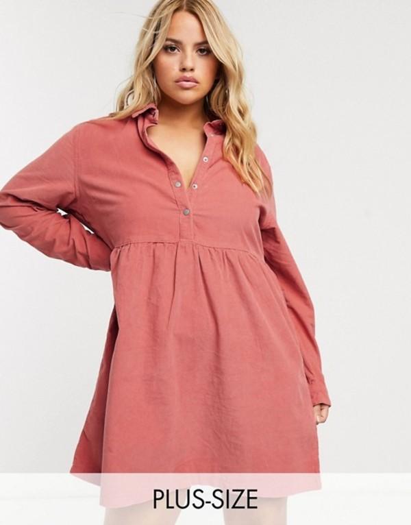 ミスガイデッド レディース ワンピース トップス Missguided Plus cord smock dress in rose Pink