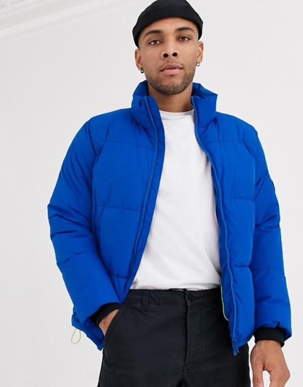 ベルシュカ メンズ ジャケット・ブルゾン アウター Bershka puffer jacket in blue Blue