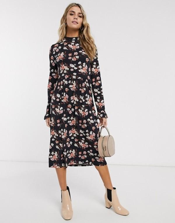 ミスセルフフリッジ レディース ワンピース トップス Miss Selfridge midi swing dress in floral print Black