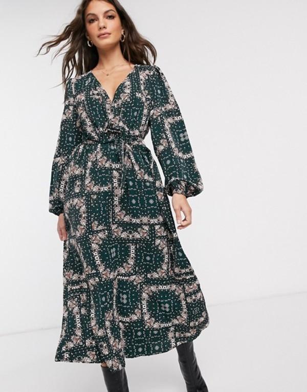 ヴィラ レディース ワンピース トップス Vila wrap maxi dress in paisley print Green multi
