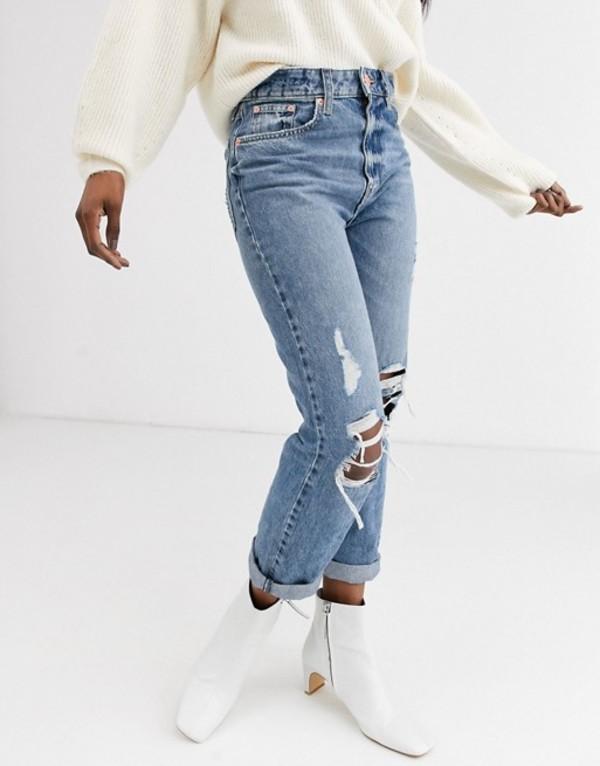 リバーアイランド レディース デニムパンツ ボトムス River Island Stormi destroyed mom jeans in mid blue authentic Mid auth