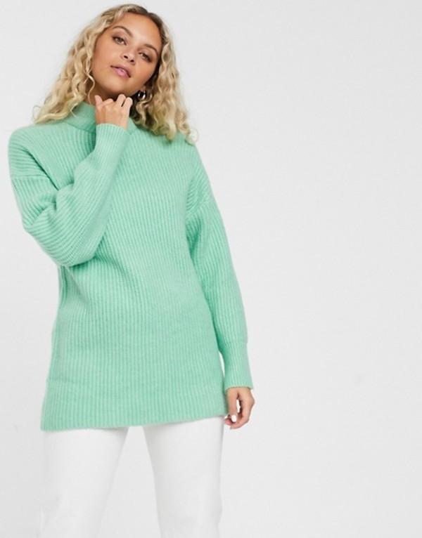 モンキ レディース ニット・セーター アウター Monki ribbed roll neck sweater in mint green Mint green