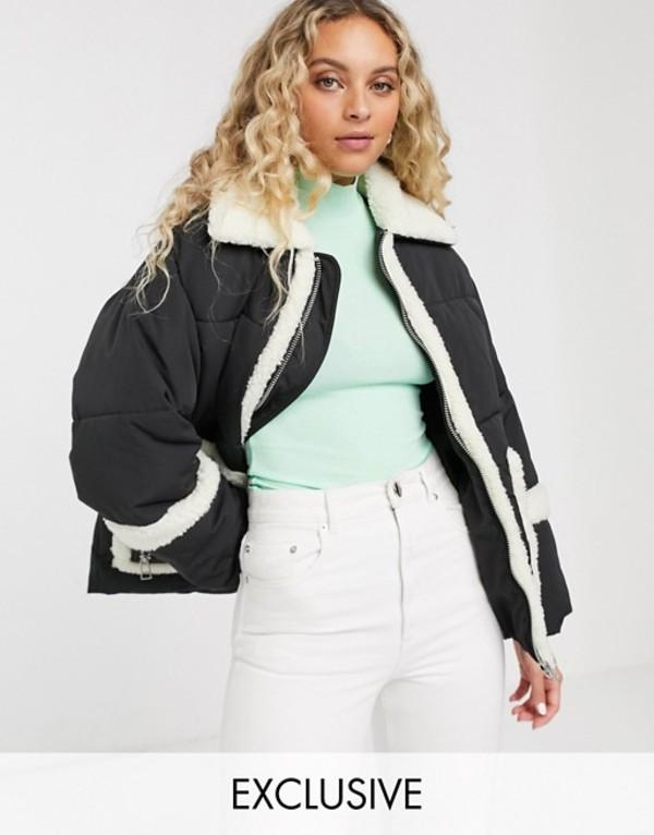 モンキ レディース ジャケット・ブルゾン アウター Monki oversized puffer jacket with borg detailing in black Black