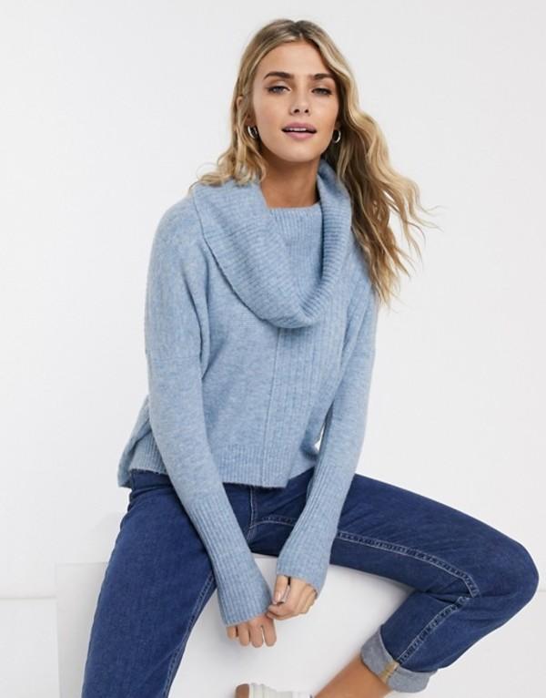ミスセルフフリッジ レディース ニット・セーター アウター Miss Selfridge sweater with cowl neck in blue Blue