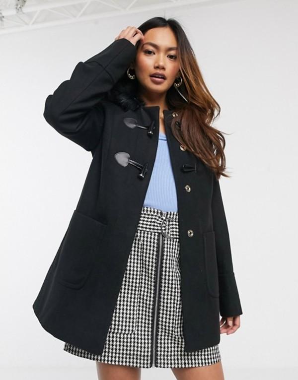 ミスセルフフリッジ レディース コート アウター Miss Selfridge duffle coat in black Black