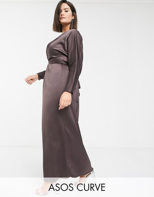 エイソス レディース ワンピース トップス ASOS DESIGN Curve maxi dress with batwing sleeve and wrap waist in satin Chocolate