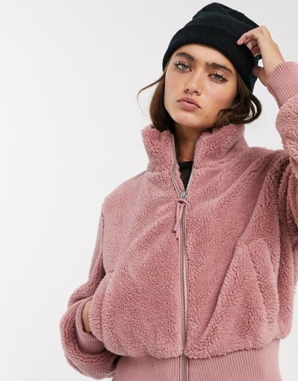 ベルシュカ レディース ジャケット・ブルゾン アウター Bershka zip up fleece jacket in pink Pink