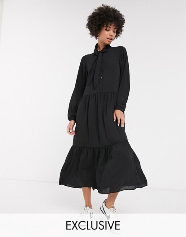 モンキ レディース ワンピース トップス Monki tiered midi dress with pussy bow neck in black Black