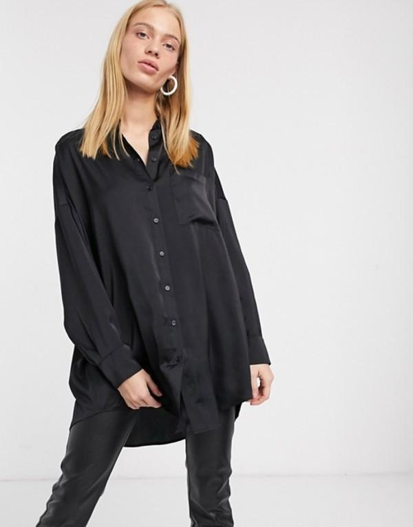 モンキ レディース シャツ トップス Monki oversized longline satin blouse in black Black