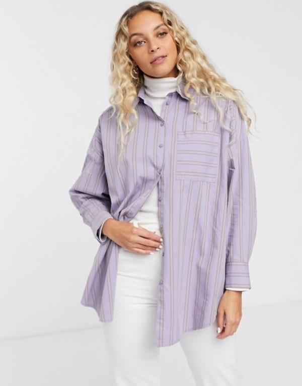 モンキ レディース シャツ トップス Monki stripe oversized shirt in lilac Purple