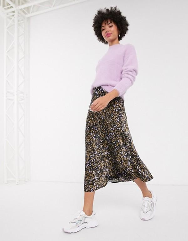 モンキ レディース スカート ボトムス Monki dot print satin midi skirt in brown Brown