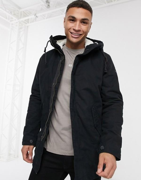 プロダクト メンズ コート アウター Produkt fishtail parka with fleece hood Black