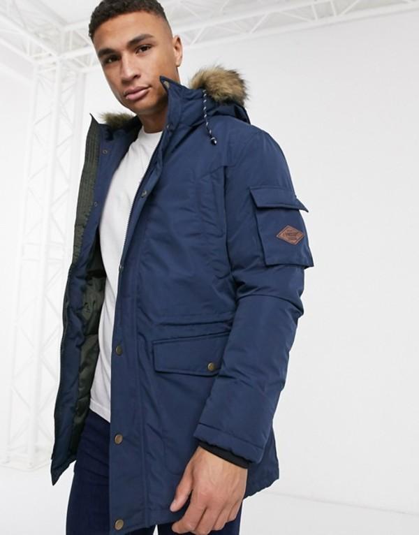 プロダクト メンズ コート アウター Produkt parka jacket with faux fur hood Dress blues