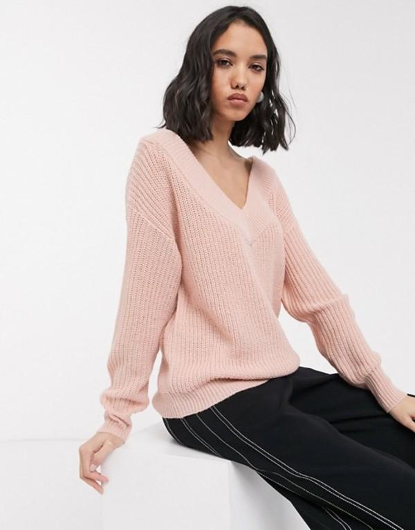 オンリー レディース ニット・セーター アウター Only v neck knitted sweater in pink Pink