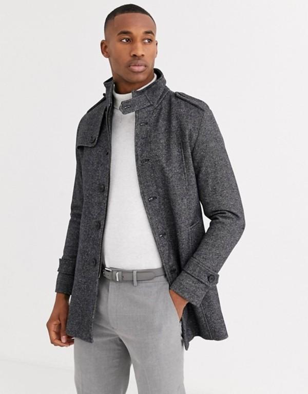 セレクテッドオム メンズ コート アウター Selected Homme wool coat with stand up collar in gray Beluga