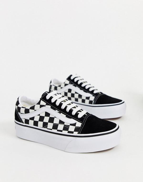 バンズ レディース スニーカー シューズ Vans Old Skool Platform sneakers in checkerboard Suede black gum