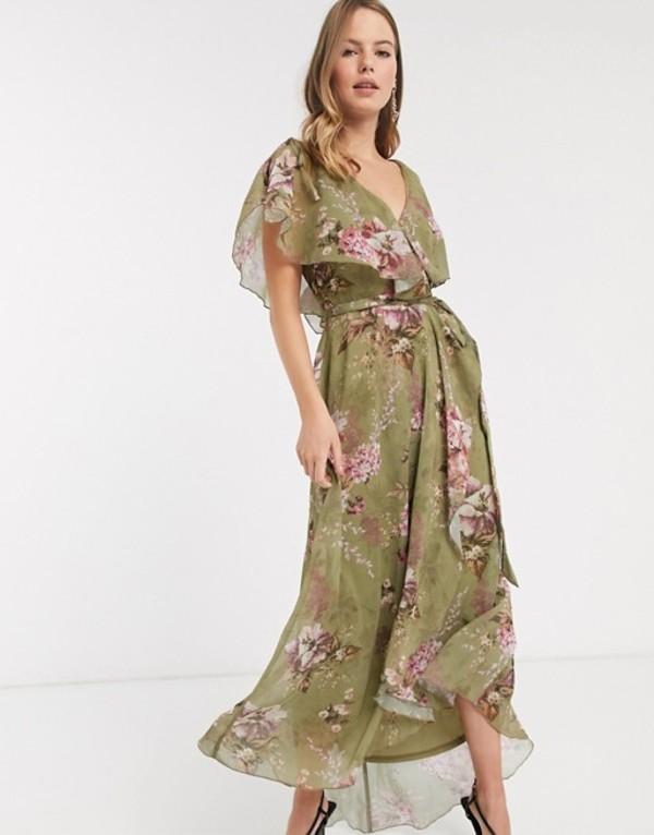 エイソス レディース ワンピース トップス ASOS DESIGN split sleeve cape back dipped hem maxi dress with tie shoulder in vintage bouquet floral Multi