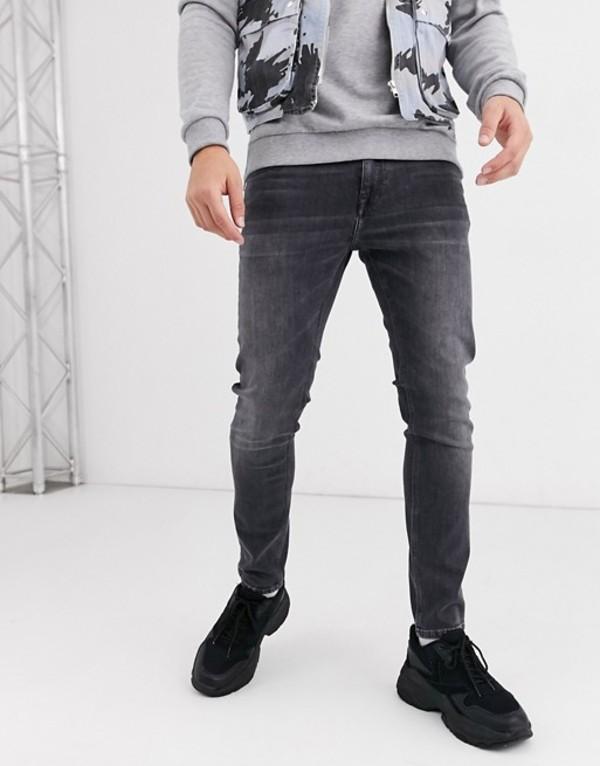 プルアンドベアー メンズ デニムパンツ ボトムス Pull&Bear skinny fit jeans in gray Dark grey