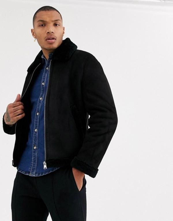 プルアンドベアー メンズ ジャケット・ブルゾン アウター Pull&Bear faux fur lined jacket in black Black