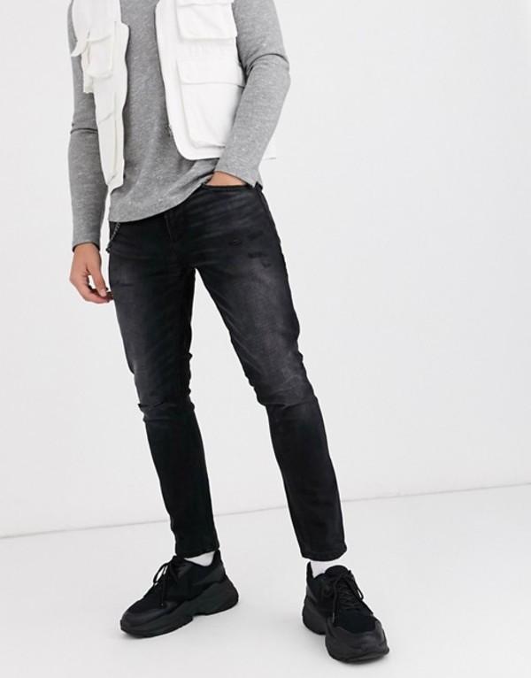 プルアンドベアー メンズ デニムパンツ ボトムス Pull&Bear skinny fit tapered jeans in washed black Washed black
