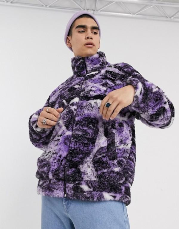 ジェーデッド メンズ ジャケット・ブルゾン アウター Jaded purple psychedelic collage borg jacket Purple