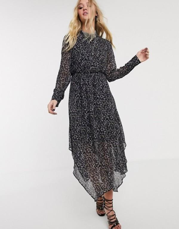 オールセインツ レディース ワンピース トップス AllSaints valeria waterleo high neck leopard print midi dress Multi