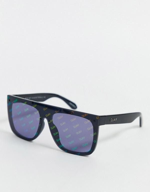 クアイオーストラリア レディース サングラス・アイウェア アクセサリー Quay Australia x J Lo Jaded flat brow sunglasses in black Black
