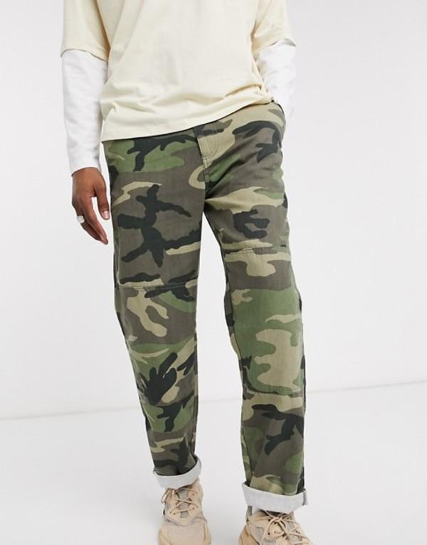 プルアンドベアー メンズ デニムパンツ ボトムス Pull&Bear two-piece relaxed fit jeans in green camo Camo