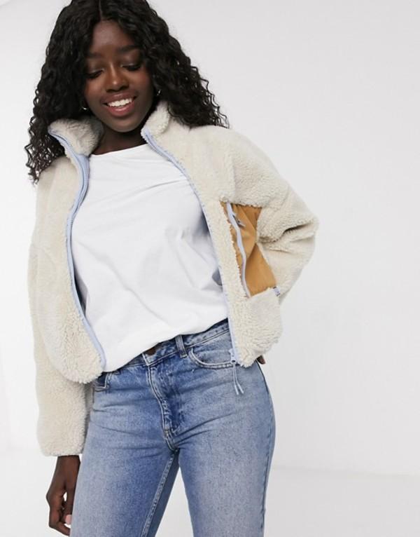 プルアンドベアー レディース ジャケット・ブルゾン アウター Pull&Bear contrast pocket fleece jacket in ecru Ecru
