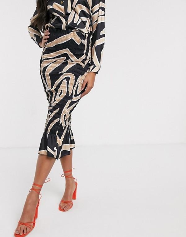 ネバーフリードレスド レディース スカート ボトムス Never Fully Dressed shirred midi bodycon skirt o ord in mono abstract print Multi