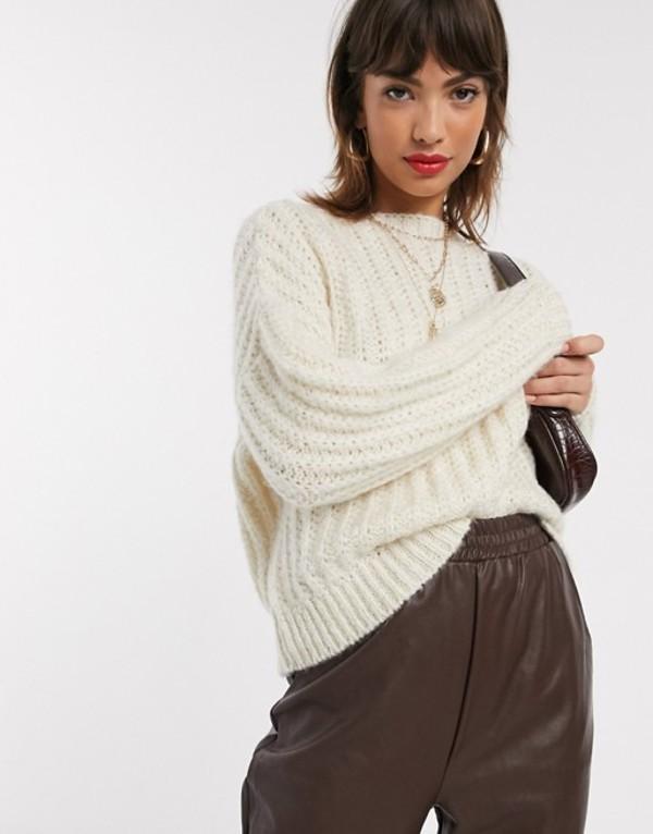 ストラディバリウス レディース ニット・セーター アウター Stradivarius knit sweater in ecru Ecru