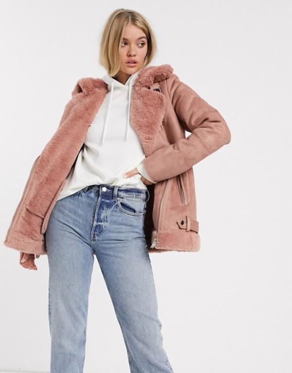 ストラディバリウス レディース ジャケット・ブルゾン アウター Stradivarius aviator jacket in pink Camel