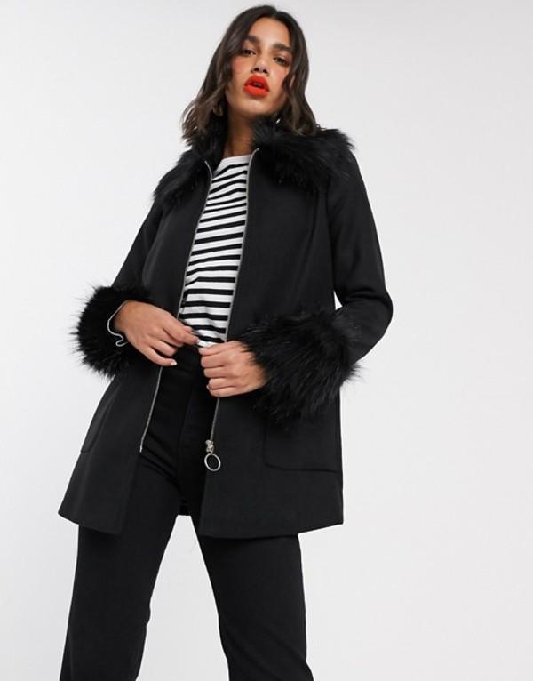 ミスセルフフリッジ レディース コート アウター Miss Selfridge faux fur trim duffle coat in black Black