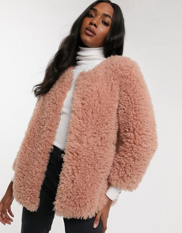 マンゴ レディース ジャケット・ブルゾン アウター Mango faux fur jacket in pink Pink