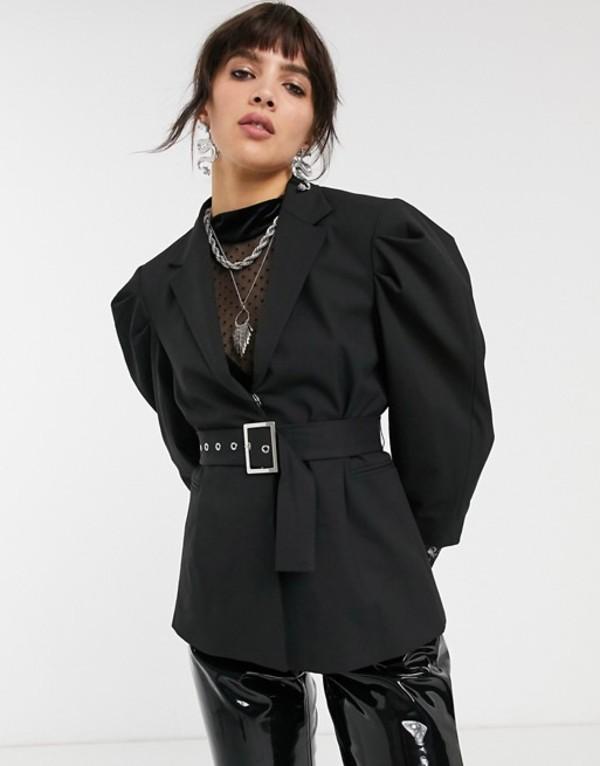ベルシュカ レディース ジャケット・ブルゾン アウター Bershka volume shoulder blazer in black with tie waist Brown