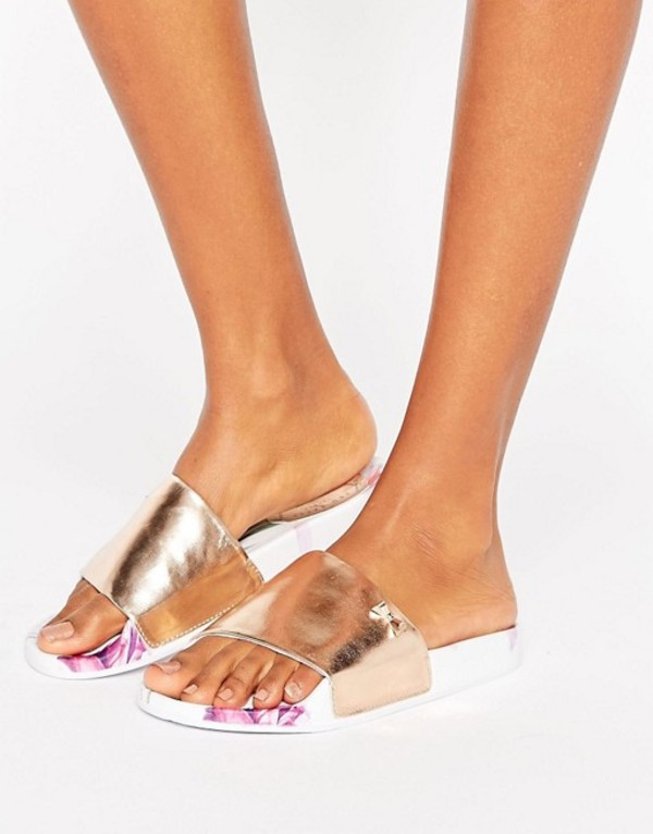 テッドベーカー レディース サンダル シューズ Ted Baker Armeana Rose Gold Sketchbook Slide Flat Sandals Sketchbook pu