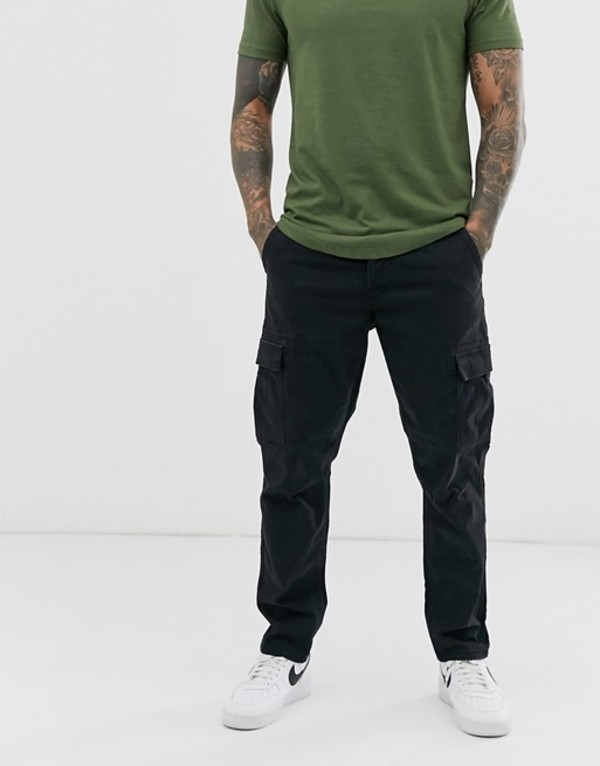 オンリーアンドサンズ メンズ カジュアルパンツ ボトムス Only & Sons tapered fit cargo pants in black Black