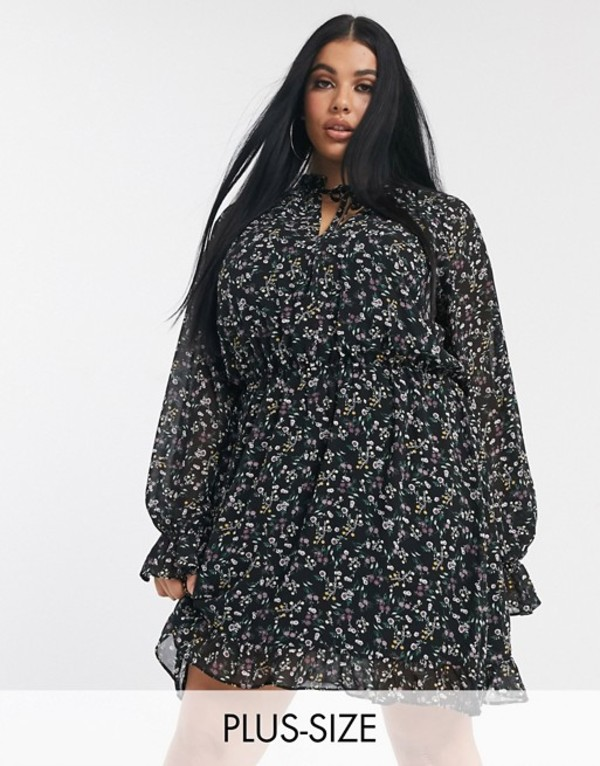ミスガイデッド レディース ワンピース トップス Missguided Plus tie neck smock dress in ditsy floral Multi