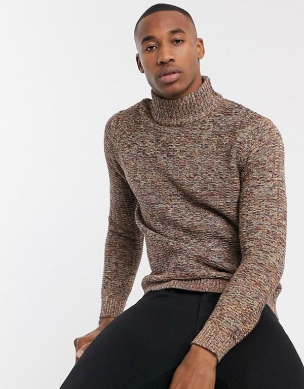 セレクテッドオム メンズ ニット・セーター アウター Selected Homme roll neck sweater in red space dye Brick red