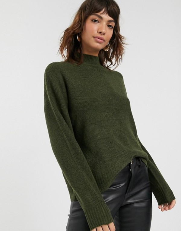ウエアハウス レディース ニット・セーター アウター Warehouse rib sweater with funnel neck in khaki Khaki