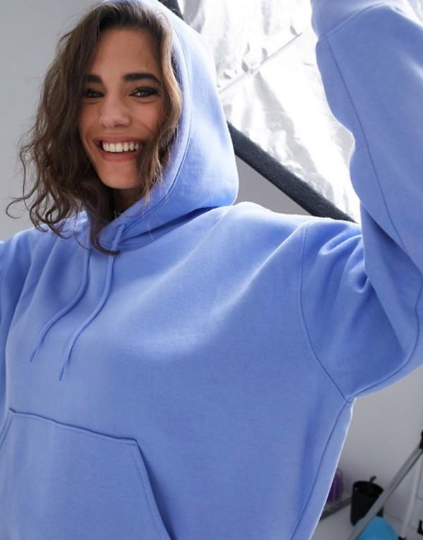 ウィークデイ レディース パーカー・スウェット アウター Weekday Alisa organic cotton oversized hoodie in sky blue Sky blue