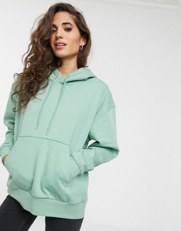ウィークデイ レディース パーカー・スウェット アウター Weekday Alisa organic cotton oversized hoodie in sage green Sage green