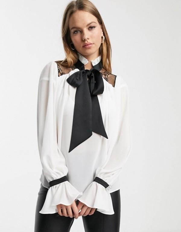リバーアイランド レディース シャツ トップス River Island tie neck blouse with lace yoke in ivory White