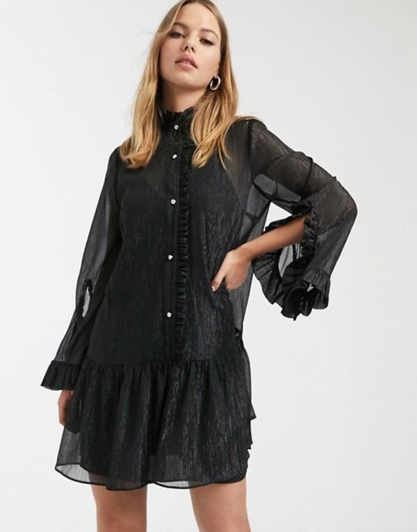 リバーアイランド レディース ワンピース トップス River Island smock dress with frills in black Black