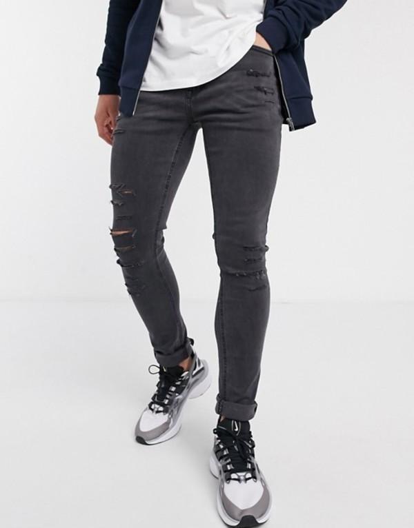 ニュールック メンズ デニムパンツ ボトムス New Look distressed skinny jeans in dark gray Dark grey