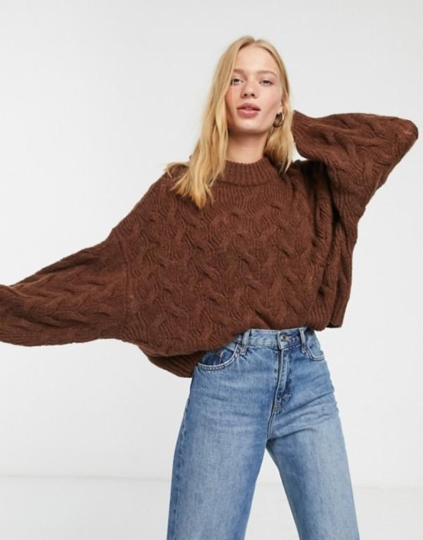 ウィークデイ レディース ニット・セーター アウター Weekday Lizzie chevron round neck sweater in brown Brown
