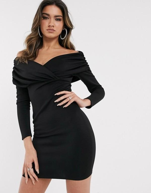 エイソス レディース ワンピース トップス ASOS DESIGN scuba bardot ruched side long sleeve mini dress Black