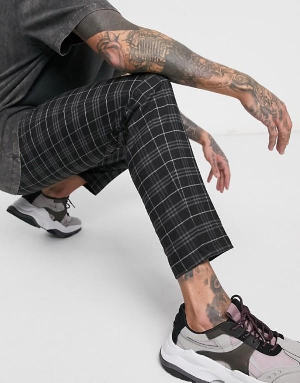 プルアンドベアー メンズ カジュアルパンツ ボトムス Pull&Bear slim crop pants in black check Black