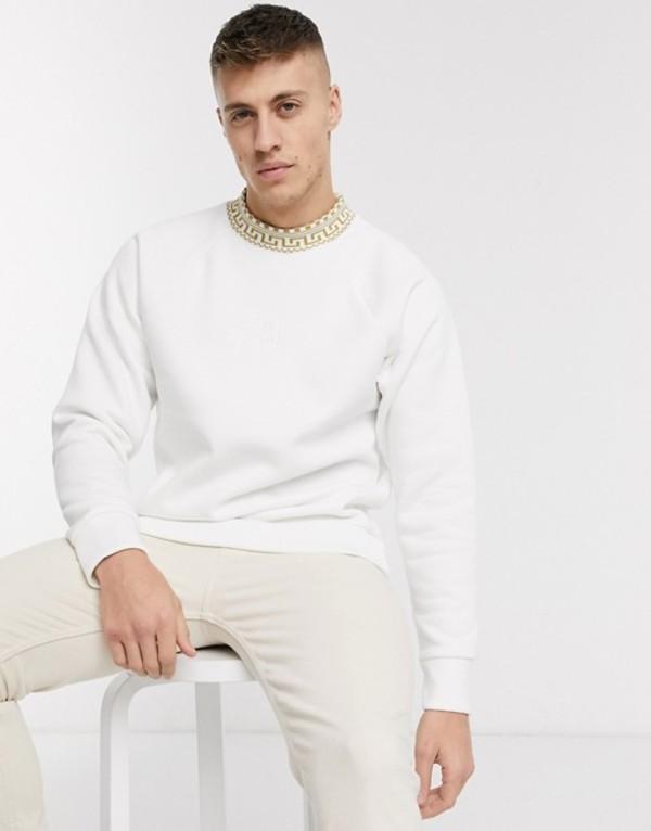 リバーアイランド メンズ パーカー・スウェット アウター River Island ribbed Geo-Tribal crew neck sweatshirt in white White